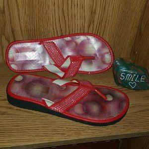 Size 8 red flip flops